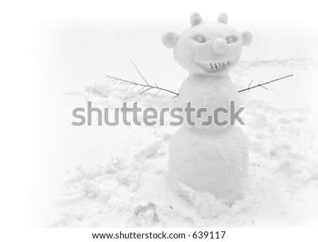 Devilish Snowman - stock photo