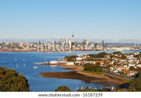 Devonport beach with Auckland skyline background - stock photo