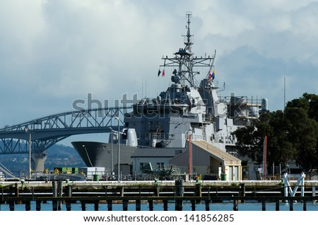 DEVONPORT, NZ  - MAY 30: HMNZS Te Mana F111 in Devonport Naval Base on May 30 2013.It's the home of the Royal New Zealand Navy since 1841. - stock photo