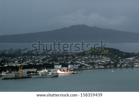 DEVONPORT, NZ - OCT 08: Aerial view of Devonport Naval Base on May 30 2013.It's the home of the Royal New Zealand Navy since 1841. - stock photo