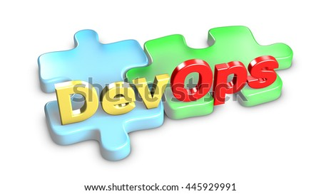 DevOps means development and operations. Each entity is a piece of the puzzle. 3d rendering. - stock photo