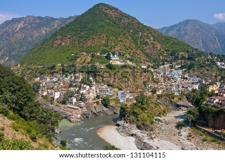 Devprayag is the last prayag of Alaknanda River and from this point the confluence of Alaknanda and Bhagirathi River is known as Ganga. Uttarakhand, India.
