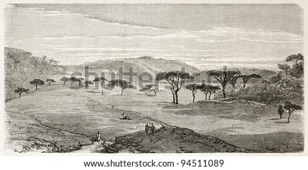 Devra Tabor old view, Abyssinia. Created by Ciceri after Lejean, published on Le Tour du Monde, Paris, 1867 - stock photo