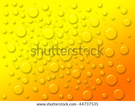 dew drops on the yellow background - stock photo