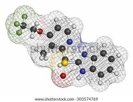 Dexlansoprazole gastric ulcer drug molecule (proton pump inhibitor). Atoms are represented as spheres with conventional color coding: hydrogen (white), carbon (grey), oxygen (red), etc  - stock photo