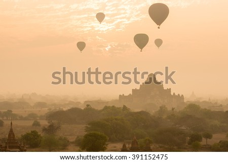 Dhammayangyi temple The biggest Temple in Bagan with balloons and sunrise, Myanmar