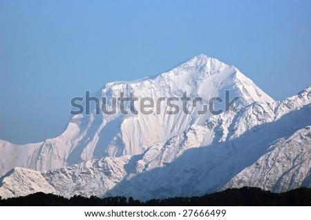 Dhaulagiri - majestic mountain in Himalaya, Nepal. - stock photo