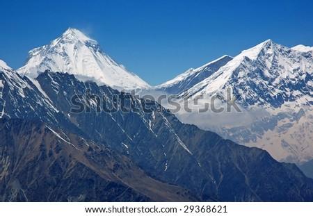Dhaulagiri - majestic mountain in Himalaya, Nepal. 8,167 meters. - stock photo