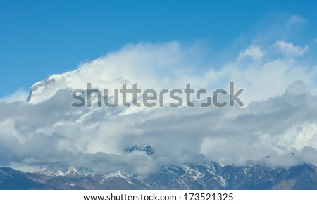 Dhaulagiri peak the 8th hihgest mountain in the world - stock photo