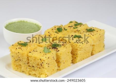 dhokla snack - stock photo