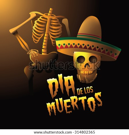 Dia de los Muertos - Mexican Day of the dead skeleton holding its head illustration - stock photo