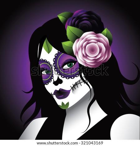 Dia de los Muertos - Mexican Day of the dead woman wearing sugar skull makeup.  illustration for holidays, religion, greeting card, advertising, social media, blog - stock photo