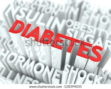 Diabetes Background Design. Word of Red Color Located over Word Cloud of White Color. - stock photo