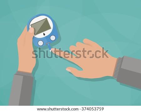 Diabetes blood glucose test - stock photo