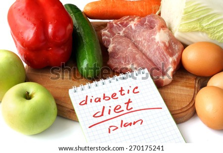 Diabetes concept. Notepad  with diabetic diet and raw organic food. - stock photo