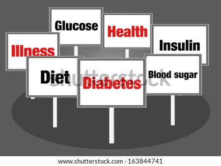 Diabetes concept signs - stock photo