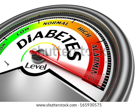 diabetes conceptual meter, isolated on white background - stock photo