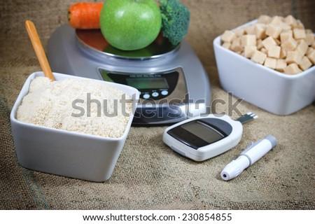 Diabetes, control diabetes and proper nutrition - stock photo
