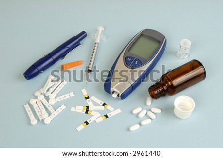 Diabetes equipment, used by patient - stock photo