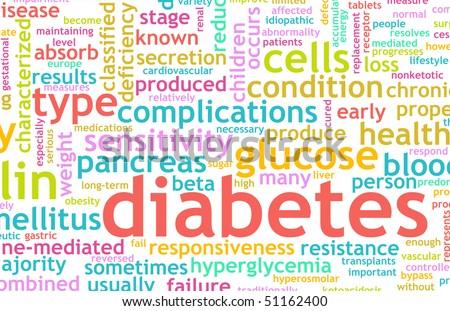 Diabetes Illness Concept with a Terminology Art - stock photo