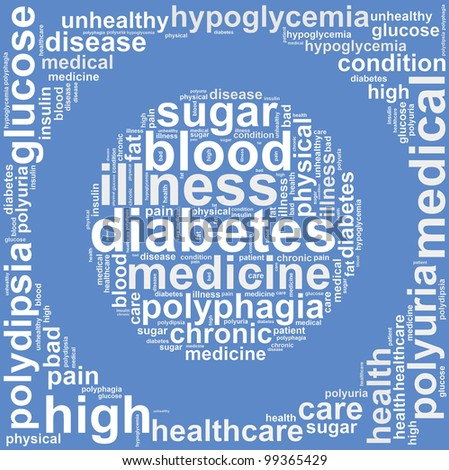 diabetes info text graphic and arrangement concept on white background - stock photo