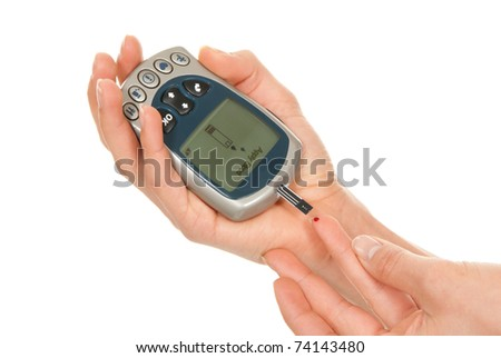 Diabet Patient Measuring Glucose Level Blood Stock Photo