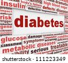 Diabetes medical poster design. Health care message conceptual design - stock photo