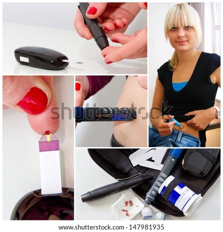 Diabetes, photo collage - stock photo