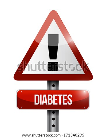 diabetes road sign illustration design over a white background - stock photo