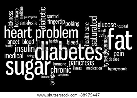 Diabetes sickness info-text graphics and arrangement word clouds concept