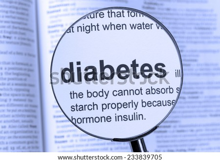 Diabetes Text highlighted in a dictionary - stock photo