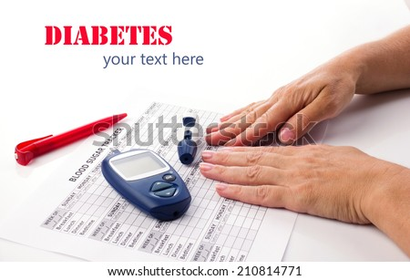 diabetic concept -  elderly woman's hands, glucometer, medicine form and pen on white background with place for your text - stock photo