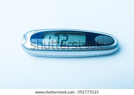 Diabetic kit, Syringe pen with insulin and glucometer, Blood glucose test, Blood glucose meter kit. TONED IMAGE. - stock photo