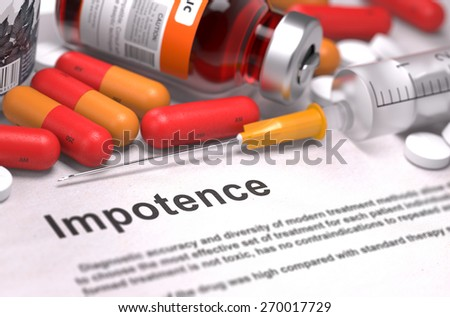 Diagnisis - Impotence. Medical Report with Composition of Medicaments - Red Pills, Injections and Syringe. Selective Focus. - stock photo