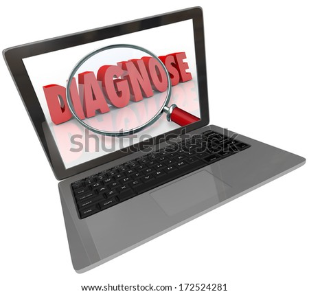 Diagnose Word Laptop Computer Online Medical Help Information - stock photo