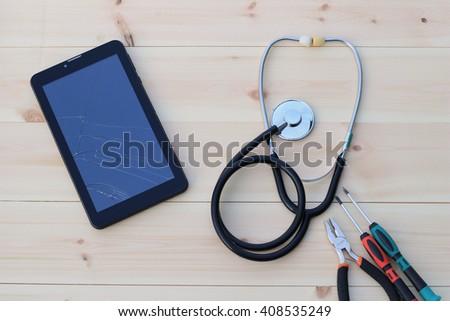 Diagnosis and repair of computer equipment, cell phones, smartphones, navigators - stock photo