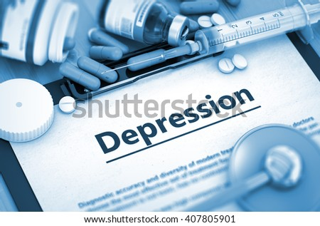 Diagnosis - Depression On Background of Medicaments Composition - Pills, Injections and Syringe. Depression, Medical Concept with Pills, Injections and Syringe. 3D. - stock photo