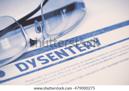 Diagnosis - Dysentery. Medicine Concept with Blurred Text and Eyeglasses on Blue Background. Selective Focus. 3D Rendering.