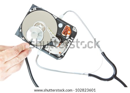 Diagnosis of a stethoscope hard drive. On a white background. - stock photo