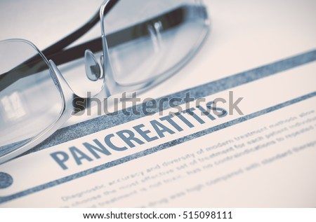 Diagnosis - Pancreatitis. Medical Concept on Blue Background with Blurred Text and Glasses. Selective Focus. 3D Rendering.