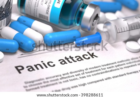 Diagnosis - Panic attack. Medical Report with Composition of Medicaments - Blue Pills, Injections and Syringe. Blurred Background with Selective Focus. 3D Render. - stock photo