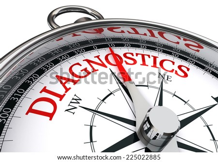 diagnostics red word on conceptual compass isolated on white background - stock photo