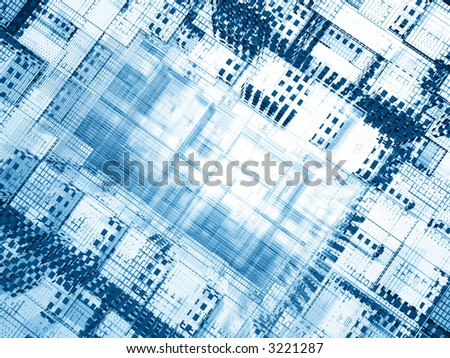 Diagonal abstract 3d structure - infinite strings and cells - stock photo