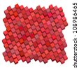 diagonal abstract red pink cube pattern backdrop - stock photo
