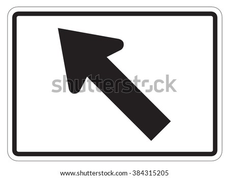 Diagonal Arrow Auxiliary Sign isolated on a white background - stock photo