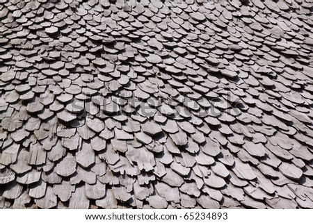 Diagonal detail of brown wood roof - stock photo