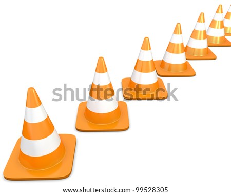 Diagonal line of traffic cones, isolated on white background - stock photo