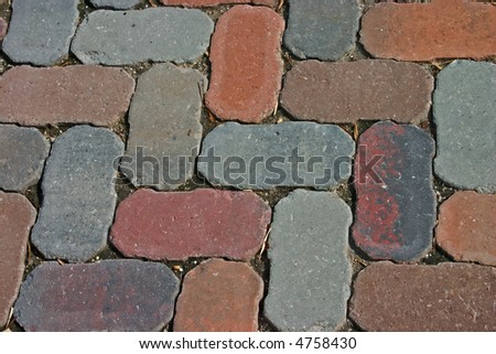 diagonal pattern of brick pavers in a Herringbone style