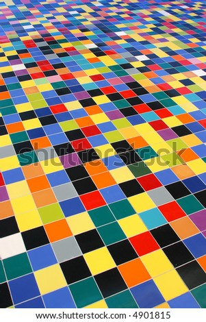 diagonal perspective of colorful mosaic tiles pattern on a wall - stock photo