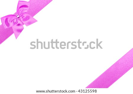 Diagonal pink gift bow perfectly isolated on white background (very easy to cut out)